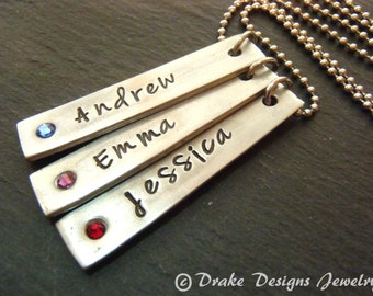Mothers Personalized bar necklace - custom name mom necklace with kids names and birthstone - vertical bar necklaxe