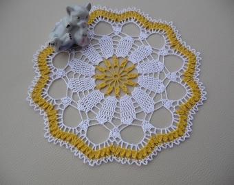 Small doily handmade cotton white and yellow orange