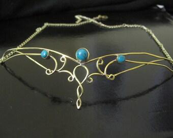 Brass Tiara decorated with Turquoise Stone, Elf Tiara, Celtic Crown, Wedding headdresses