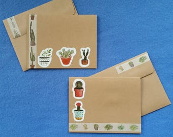 Two Succulent Cactus Handmade Cards - Recycled Kraft Paper with cacti and succulents, blank cards cactus cards succulent cards