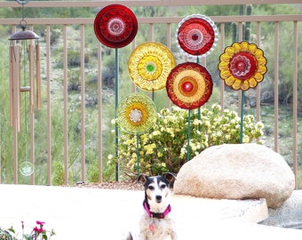 Colorful Yard Art Flower Garden Decoration Garden Gift For Mother Gardener Reclaimed Glass Plate Flower Outdoor Decor Glass Suncatcher