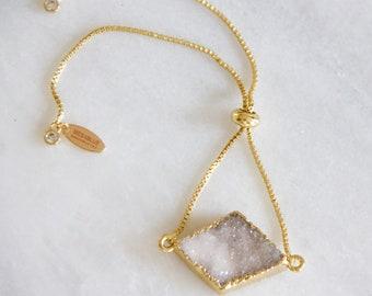 White Druzy Adjustable Bracelet
