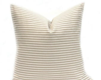 15% Off Sale Throw Pillows, Tan Pillow, Striped Pillow, Decorative Pillow Cover, Ticking, Taupe pillow, Beige pillow, Accent Pillow, Tan pil
