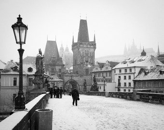 Prague Photography, Charles Bridge, Czech Republic Prague, Snowy morning - Bridge Tower - Foot prints in snow