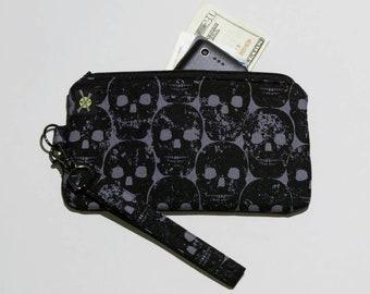 Black Skulls Phone Wristlet, Fabric Clutch, Zipper Pouch, Detachable Strap, Small Zipper Purse, Black and Gray