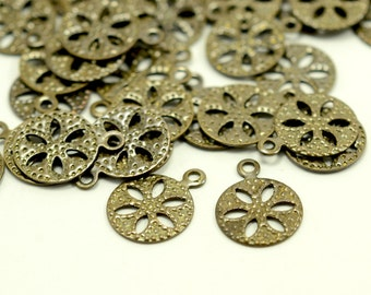 75 Pcs. Antique Brass 10 mm Filigree Drop  Findings