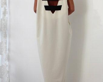 White Maxi dress/ Oversized dress/ Caftan/ Kaftan/ Casual dress/ White summer dress/ Backless dress/ Black and White dress/ 130.116