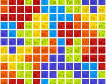 Periodic table quilt etsy geek chic fabric science periodic table element small blocks studio e yard urtaz Gallery