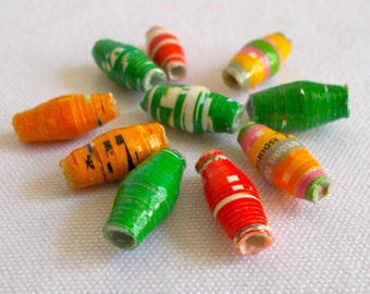Dodo Recycled Paper Beads - Fair Trade from Mzuribeads Uganda Africa - Size 1cm approx Pack of 10 Beads