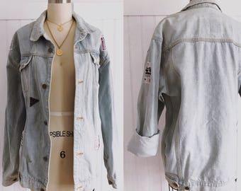 Vintage 80's Zero Zone light wash denim jean jacket unisex mens womens