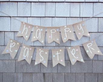 Easter Decor, Happy Easter Banner, Easter Bunting, Easter Garland, Easter Bunny Burlap Banner Bunting Easter Spring Sign