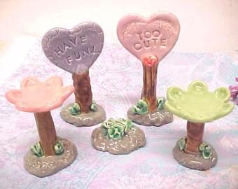 Fairy Garden Accessories for Mini Teacup Garden, Terrarium, Aquarium, Mini Pottery Sign Posts, Tiny Clay Bird Baths,  Little Stepping Stones