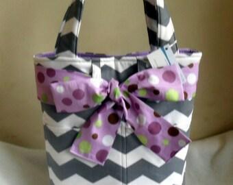 Gray Chevron with Lavender Polka Dot Bow and Sash Large Tote Bag Purse