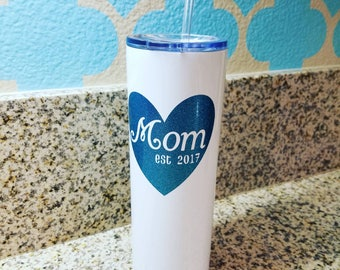 Mom, est. 2018 (or 2019) 20oz Stainless Steel Tumbler, White, Customizable
