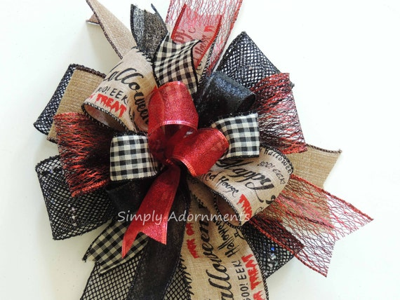 Black Red Halloween Lantern Bow Happy Halloween Scripts Wreath Bow Trick or Treat Swag Bow Red Black Halloween Door Hanger Bow Party Decor