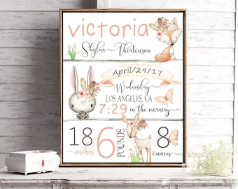 Girls Woodland Birth stats, Printable, PARTYTWO, Girly Forest animals, Nursery baby gift, Baby girl, Woodland Baby shower, Rustic nursery