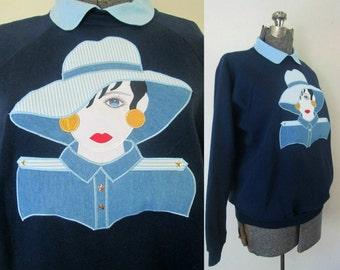 Vintage 1980s Sweatshirt Appliqued Design Fashionista Fashion