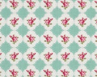 Tanya Whelan Fabric - Free Spirit - Rosey - Cameo Rose - Teal - Choose Your Cut-1/2 or Full Yard