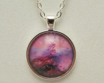 Space Nebula Glass Pendant, Space Nebula Glass Necklace, Pink Space Nebula, Purple Space Nebula, Glass Photo Necklace, Glass Photo Pendant