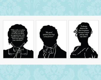 SALE - Three Literary Prints For The Price Of Two- Pride and Prejudice  - Jane Austen - Mr Darcy - Jane Eyre - Wuthering Heights