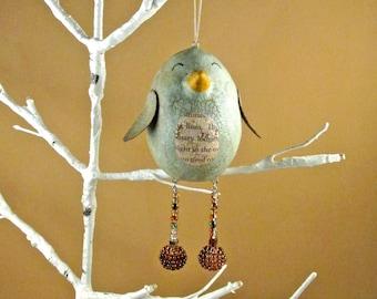 Bird ornament - Primitive Bird Decor, Mixed Media Art Bird Ornament, Cute Bird Decoration, Bird Ornament, Bird Decor