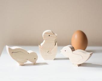 Set Of Three Little Chicks Wooden Ornamanet