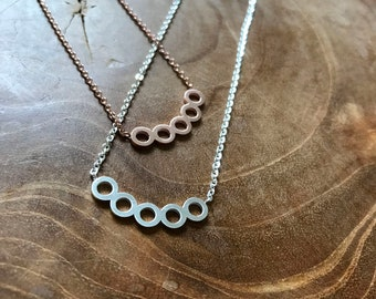 Circles - necklace with 5 circle pendant. silvertone, rosegoldtone, trend, hipster, modern, minimal, stainless steel