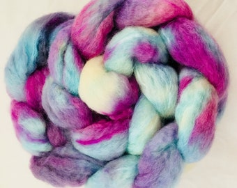 Hand dyed combed top,  BFL, sparkles, felting materials, hand-spinning,  spinning wool, sparkly fibre, extra soft, spindling, felt