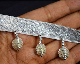 Trimming Silver Beaded Fringes Trim Decorative Trim by 2 Yard Indian Home Decor Curtain Crafting Supplies Designer Sewing Supplies