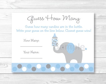Cute Elephant Guess How Many Game / Elephant Baby Shower / Polka Dot Pattern / Blue & Grey / Candy Guessing Game / INSTANT DOWNLOAD A407