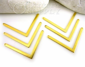 8 Pc 22K Gold Plated Brass Chevron Pendant, Chevron Connector, 3x40mm Zigzag Pendant