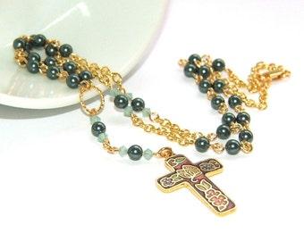 Christian Rosenkranz Halskette, zierliche Perlen mit Gold - Hochzeit, Konfirmation, Weihnachtsgeschenk