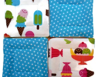 Ice Cream Coaster Set, Drink Coasters, Hostess Gift, Wedding Gift, Fabric Coasters, Housewarming Gift, Quilted Coasters, Shower Gift