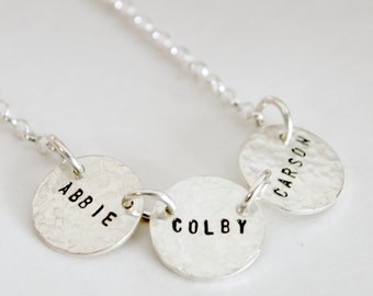 Three Name Custom Hand Stamped Personalized Necklace with Three Names Sterling Silver
