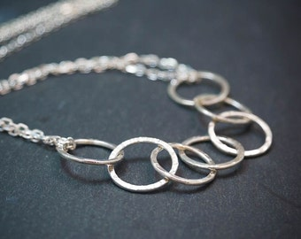 Hammered Silver Circle Necklace - Adjustable Nursing Necklace - Linked Circle Necklace - Gift for her