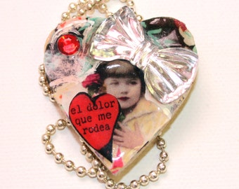 Mixed Media Art Collage - Heart Pendant Necklace - Litle Girl Bow Necklace - Resin Necklace For Women. OOAK
