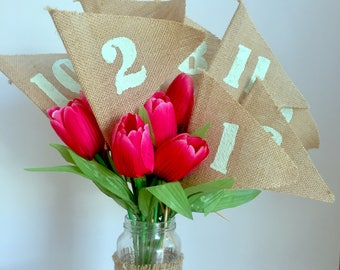Mint 1-10 Wedding table number, Burlap table numbers, rustic wedding table numbers,Hessian Flags numbers,  wedding table decoration