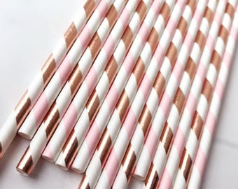 Pink and Rose Gold Straws, Pink and Rose Gold Striped Straws, Engagement Party Decor, Wedding Decor, Pink and Gold Party, Baby Bridal Shower