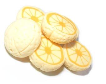 Pearls demi-fruit citrus polymer clay grapefruit yellow x 2