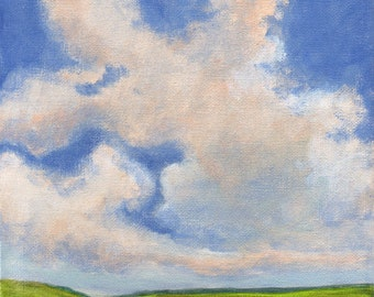 Original Landscape Painting on Canvas 8x8 Clouds Green Valley Hills Sky
