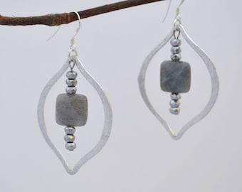 Silver Marquise Labradorite Hematite Gemstone Drop Dangling Earrings // Sterling Silver Hooks // Bridesmaids Gift