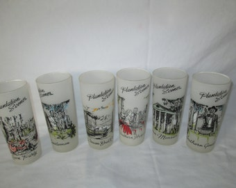 Vintage Mid Century Tom Collins Great Iced Tea Glasses Southern Designs Set of 6 Tumblers Glasses