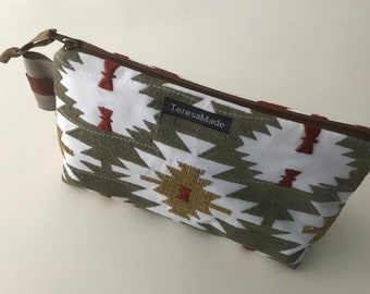 Stand Up Aztec Embroidered Zip Pouch
