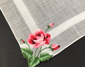 Vintage White Handkie with Embroidered Rose Corner