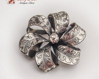 Danecraft Floral Brooch Engraved Oak Leaves Sterling Silver