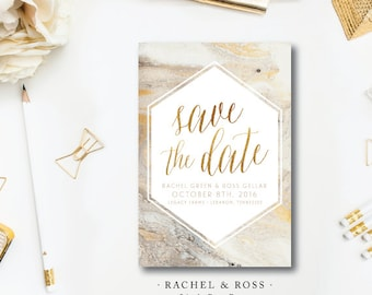 Rachel and Ross Printed Save the Dates | Wedding Save the Date | Gold and Marble Invitation | Printed by Darby Cards Collective