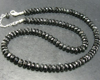 Black Tourmaline Facetted Beads Necklace From Brazil - 19""