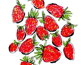 Strawberries Card, Fruit Card, Summer Card, Greeting Card, Art Card, Illustrated Card, Blank Notecard