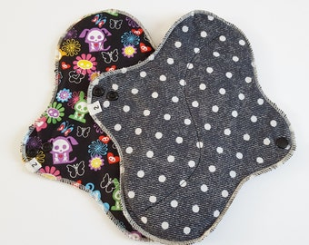 Mama Cloth Menstrual Pad / Cloth Pad ...  Set of 2 - 10 inch Black Cotton Prints  FREE SHIPPING