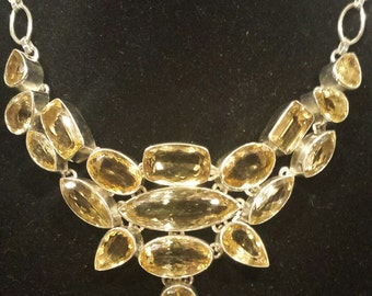 Massive .925 Sterling Silver Necklace With Citrine